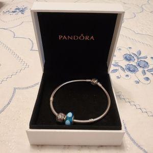Pandora Jewelry Pandora Bracelet W Disney Blue Stone Charms Poshmark
